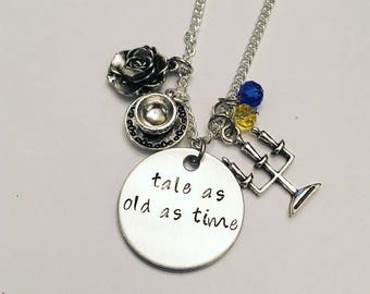 Tale as Old As Time Beauty and the Beast Belle Disney Princess Inspired Stamped Charm Necklace