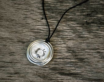 Personalized Mom Gift, Personalized Necklace, Custom Name Necklace, Pendant Necklace, Leather Necklace, Silver Necklace, Stamped Necklace.