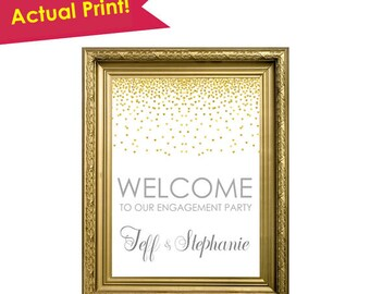 Engagement Party Sign- Engagement Party Decorations- Engagement Party Decor- Engagement Party Banner- Engagement Welcome Sign- Gold