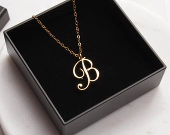 Initial b necklace etsy b initial necklace timeless cursive b initial gold pendant personalized monogram mozeypictures Choice Image