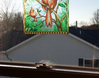 """Cardinal """"Stained Glass"""" Style WINDOW CLING"""