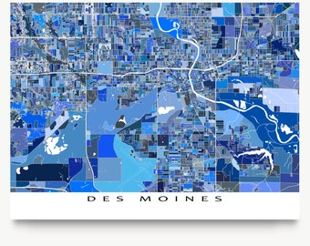 Des Moines Map Print, Des Moines Iowa, Des Moines Art, City Map Art