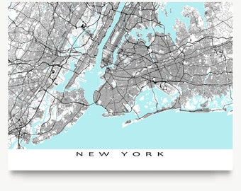 New York Map Print, New York City Map Art NYC Street Map