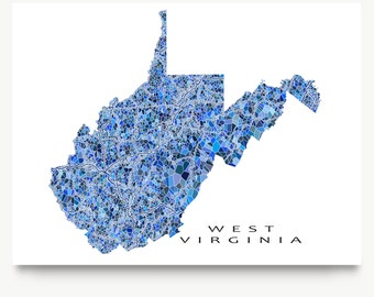 West Virginia Map Print, West Virginia State Art, WV Wall Poster