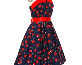 Sweet Lolita Dress Navy Cherry Dress Retro Dress Cherries Corset Dress Rockabilly Dress Pin Up Dress Plus Size Dress Fruit Dress Party Dress