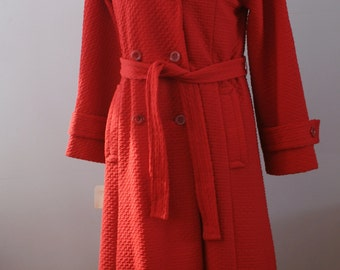 Red Waffle Knit Nylon 1960's Mod Vintage Belted Trench Coat NWT Deadstock Size Large Petite