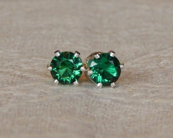 Emerald 5mm Studs, Emerald Stud Earrings, Emerald Earrings, Emerald Post Earrings, Emerald Posts, May Birthstone, Lab Created Emerald