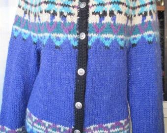 Amazing 70s icelandic cardigan sweater/100% wool/Blue nuances/Blu/azzurro/Size M/Cardigan islandese anni 70/Pura lana/Bottoni metallo/Tg.M