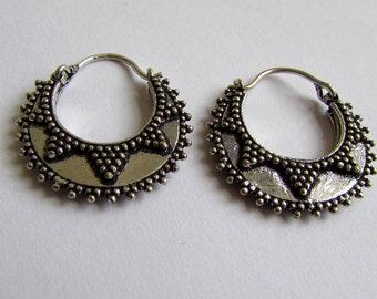 Small Mandala White Brass  Hoop Earrings Tribal Earrings Jewellery Free UK Delivery Gift Boxed WB61 WBH1