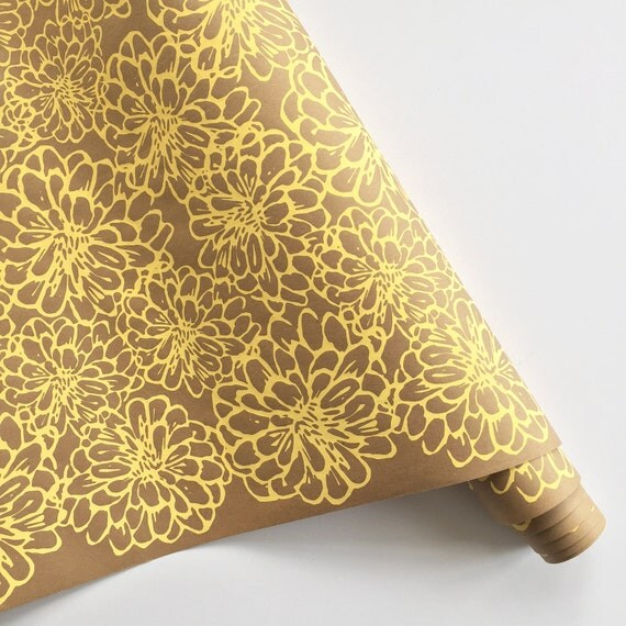 Wrapping Paper   ON SALE   Floral Gift Wrapping Paper, Screen Printed, 9ft  Roll, Paper Table Runner, Gift Wrap, Floral Wrapping Paper