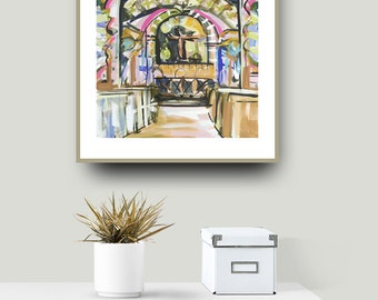 Modern Art PRINT, Abstract Church Print, pink, lime, aqua, marendevineart