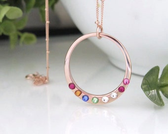 Christmas Gift for Mom - Rose Gold Birthstone Necklace - Rose Gold Circle Necklace with Birthstones - Family Birthstone Necklace Rose Gold