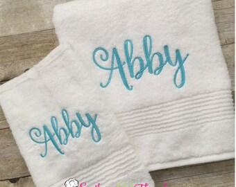 Monogrammed Towel Set, Monogrammed Bath Towel Set, Personalized Bath Towel Set, Personalized Wedding Gift, Monogrammed Grad Gift