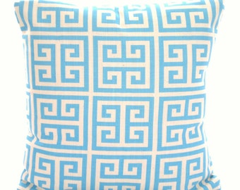 Aqua Natural Decorative Throw Pillow Covers, Aqua Cushions, Greek Key Pillow, Couch Pillows, Aqua Natural Throw Pillow One or More All Sizes