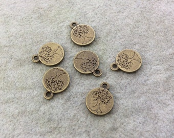 Bulk Pack of 12mm Antique Brass Plated Tibetan Silver Detailed Tree/Leaves Engraved Round Shaped Focal Charms/Pendants - Sold in Packs of 6