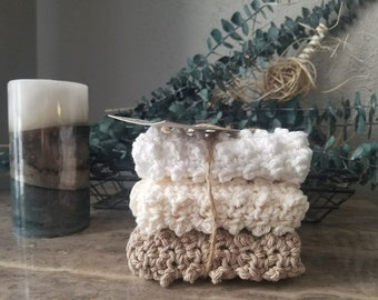 Handmade Crochet Textured Cotton Spa Washcloth READY TO SHIP