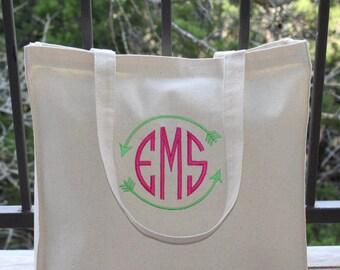 """FAST SHIPPING! Monogrammed Bag, Natural Canvas Tote Bag, Beach Bag, Bridesmaid Gift, 14"""" x 15"""", Circle Monogram/Arrow (Hot Pink & Lime)"""