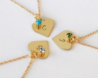Bridesmaid necklace, best friend necklace, 3 Sisters Necklace, heart necklaces set, Customize Jewelry friendship necklace, Christmas gift