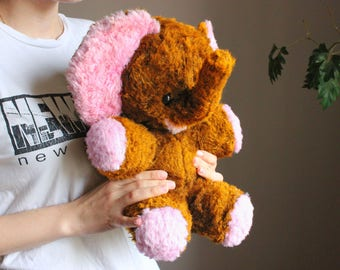Soviet Elephant Toy / Cute USSR Vintage Stuffed Mohair Animal, Pink & Brown / Large 14,5'' - 37cm Tall Soft Plush Toy, Circa 70's -80's