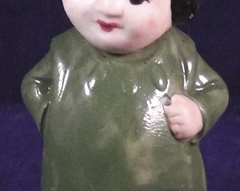 """antique german porcelain nodderdoll, figure, (repainted) """"nativ american boy"""" Germany ,3.0""""tall wire fixed"""