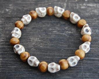 Skull Bracelet,White Stone Skull Beads,Wood Beads,Stretch,Spirituality,Men,Women,Pray,Yoga,Protection,Meditation,Skull Bracelet,Lucky