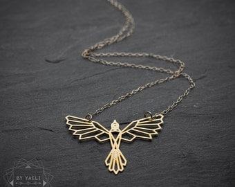 Bird necklace, phoenix necklace, geometric phoenix bird pendant, bird jewelry, origami phoenix pendant.