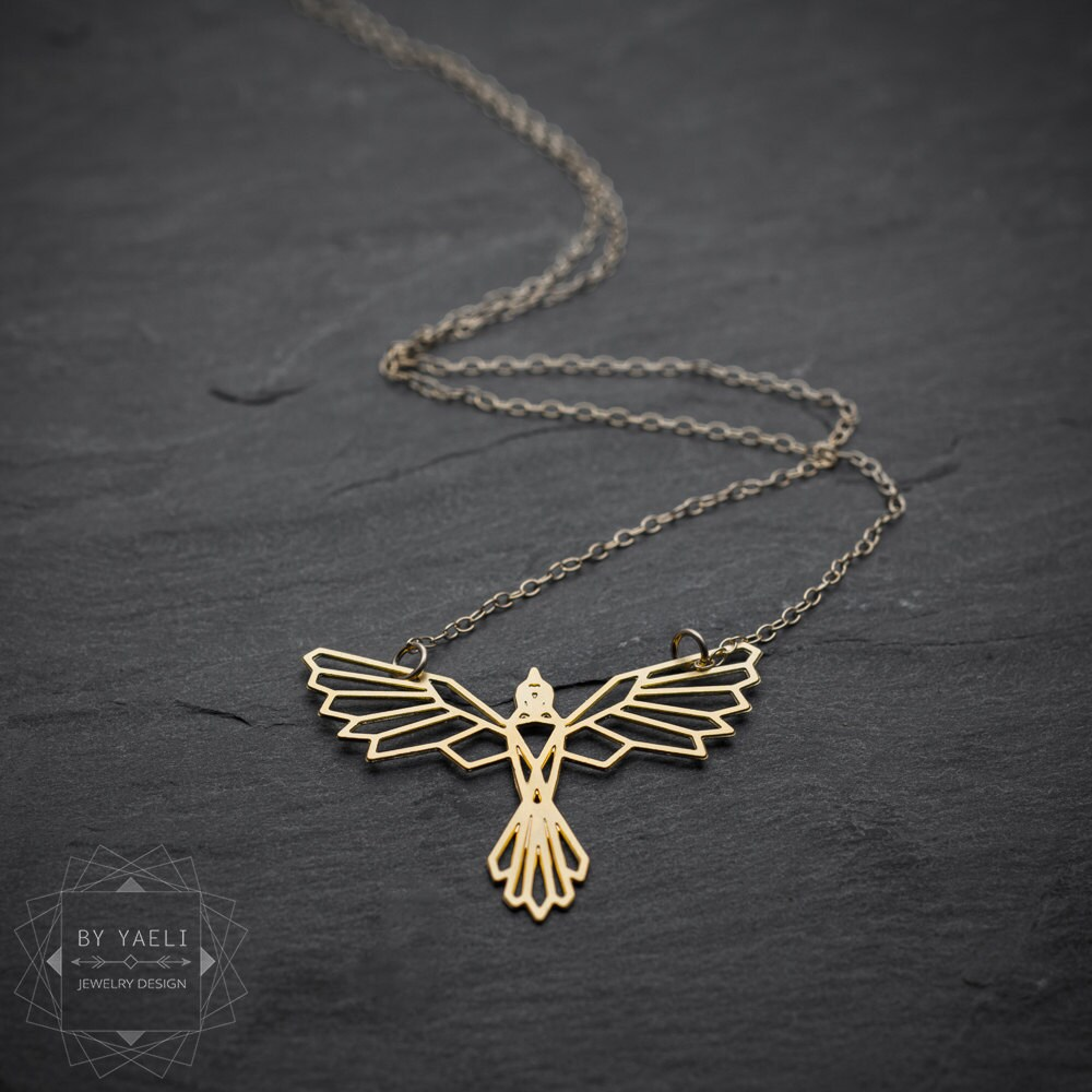 bird necklace phoenix necklace geometric phoenix bird