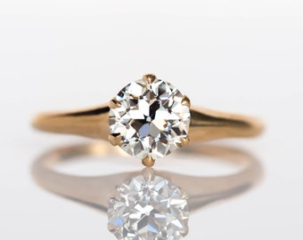 Circa 1890s Victorian 14K Yellow Gold .93ct Old European Cut Diamond Engagement Ring - VEG#703