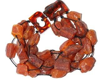 Massive Amber Bracelet From Raw Genuine Baltic Amber Pieces Multi Strand Bracelet
