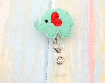 Elephant badge holder - Elephant Retractable Badge Holder - Cross ID Holder -  Retractable Badge Clip - Nursing badge holder - ID holder