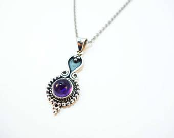 Amethyst Droplet Pendant - Choose Your Stringing! Sterling Silver Pendant Choker OR Necklace