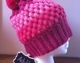 Puff Stitch Hat Cherry