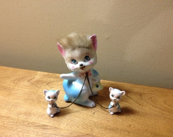 Vintage Kreiss and Company Ceramic Cats Mother with Kittens on chains Fur Japan Kitschy Cute