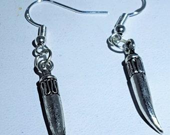 Italian Horn Sterling Silver  French Hook Earrings