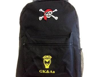 Mens NEW school bags Skull Backpack BLACK