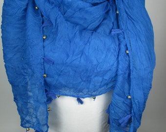 Tassel Scarf Cobalt Blue Scarf Shawl with Golden Beads Cowl Scarf Christmas Gifts For Her Fall Winter Women Fashion Accessories