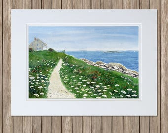 Giant Stairs Path, Bailey Island, Harpswell - Maine Watercolor Painting - Wildflowers, Rocky Coast, Seaside Cottage