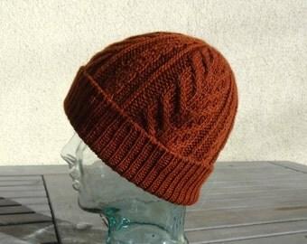 Knit Cable Hat, Burnt Orange Hat, Orange Brown Beanie, Slouchy Winter Hat, Wool Silk Hat, Mens Womens Teen Cable Hat, Ski Hat, Snow Hat