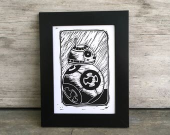 Star Wars Fan Art, Original BB-8 Linocut Print