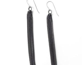 Tassel Earrings, Gunmetal Fringe Earrings, Black Jewelry For Her, Long Chain Earrings, Tassel Long Earring Titanium, Statement Earring Gift
