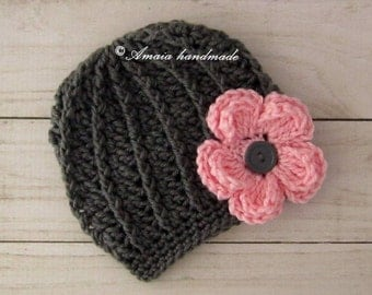 crochet baby hat, crochet baby beanie, crochet flower hat, crochet flower beanie, baby flower hat, baby flower beanie, crochet newborn hat