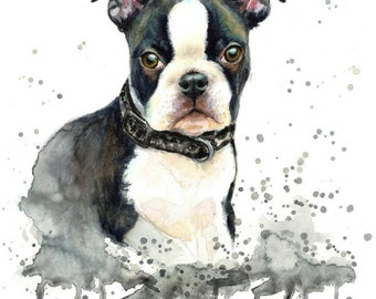 Custom Pet Portrait dog portrait puppy portrait colourful made with watercolours and pastels personalised painting