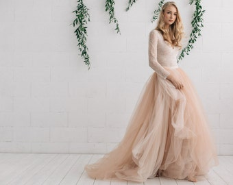 Wedding Dress , Nude Champagne Peach Ivory Bridal Dress ,Two Piece Dress, Long Sleeves  Dress  - MELANIE
