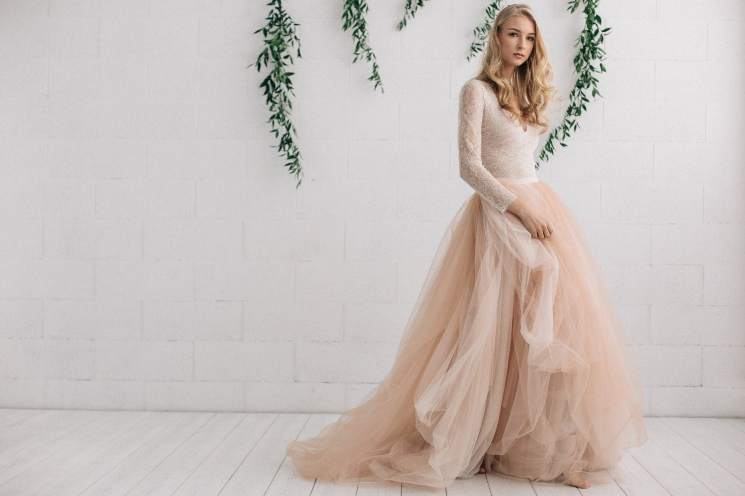 boho wedding dress boho wedding dress Wedding Dress Nude Champagne Peach Ivory Bridal Dress Two Piece Dress Long Sleeves Dress Melanie