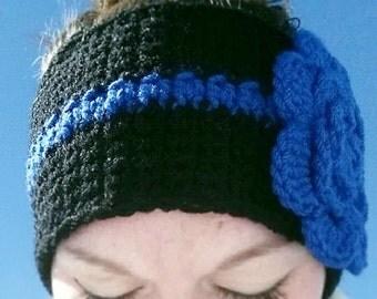 Thin Blue Line Ear Warmer, Thin Blue Line Headband, Police Support Headband, Police Support Ear Warmer, TBL Headband, TBL Ear Warmer, TBL
