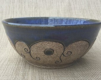 Cereal Bowl, Small Blue Carved Bowl, Ceramic Bowl, Handmade Bowl
