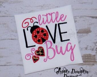 Little Love Bug Applique, Machine Embroidery Design, Valentine Day, Girl Valentine, Valentines day, Heart, Lady Bug, 5x5, 6x6, 7x7