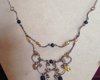 Antiqued Brass Bead Tiered Necklace