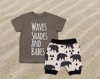 Baby Boy Clothes Waves Shades and Babes Summer Outfit Summer Vacation Shirt Boys Summer Shirt Beach Shirt Beach Outfit Boys Beach Shirt