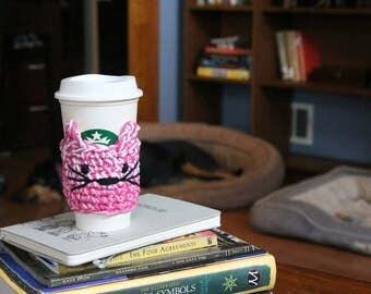 Pink Crochet Cat Coffee Cozy // Cat Coffee Cozy // To Go Cat Coffee Cozy // Coffee Cup Sleeve // Cat lover gift // Coffee lover gift